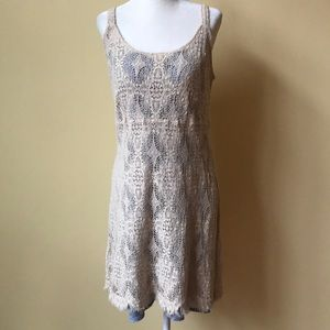 Cut Loose Two Layer Crochet Cream Dress